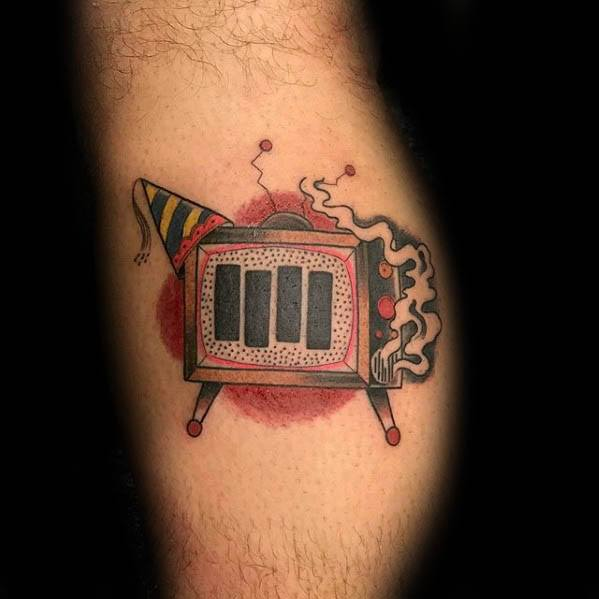 Cool Male Black Flag Tattoo Designs On Leg Calf
