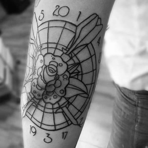 Cool Male Black Ink Outline Elbow Dart Tattoo Designs
