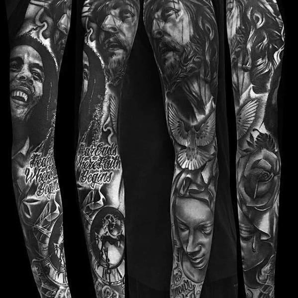 Cool Male Bob Marley Sleeve Tattoo Designs