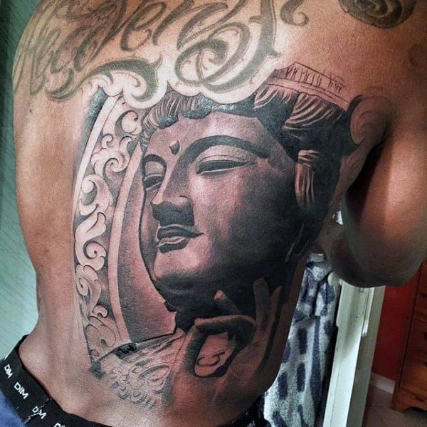 Cool Male Buddha Portrait Tattoo On Back