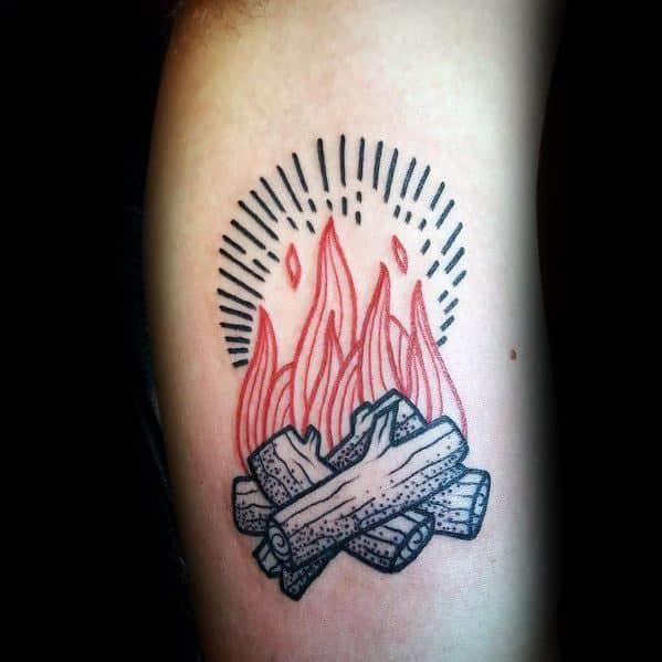 Cool Male Campfire Tattoo Designs