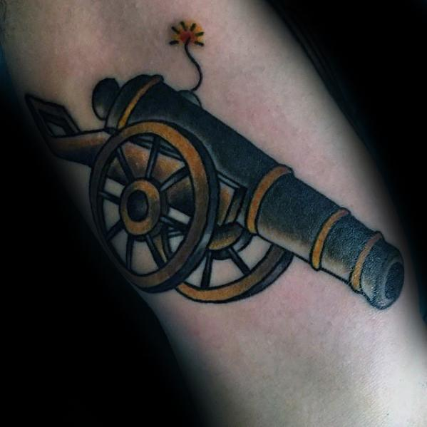 Cool Male Cannon Tattoo Designs On Inner Forearm