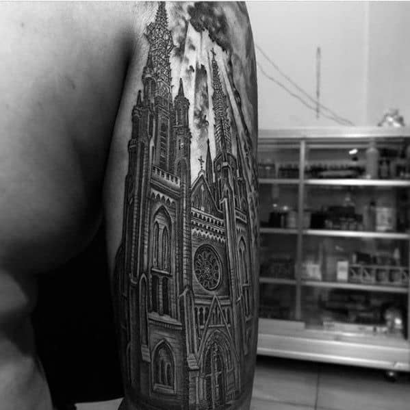 Cool Male Cathedral Tattoo Designs