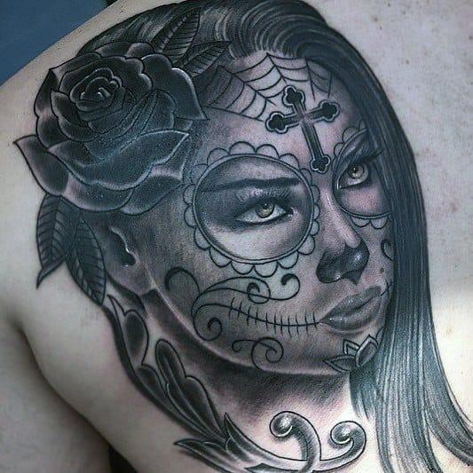 Cool Male Catrina Tattoo Designs