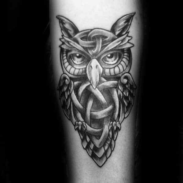 Cool Male Celtic Owl Tattoo Designs On Forearm