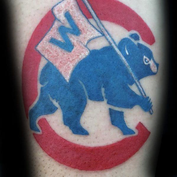 Cool Male Chicago Cubs Tattoo Designs On Forearm
