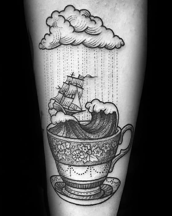 Cool Male Coffee Cup Sailing Ship With Waves Inner Forearm Tattoo Designs