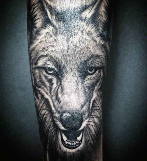 Cool Male Coyote Tattoo Designs Forearm Sleeve