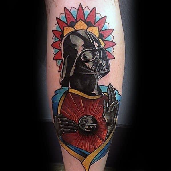 Cool Male Darth Vader Death Star Leg Tattoo Designs