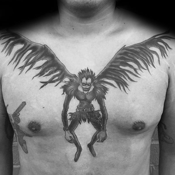 Cool Male Death Note Tattoo Designs On Upper Chest