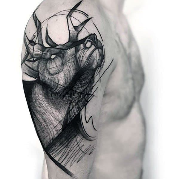 Cool Male Deer Arm Sketch Tattoo Designs