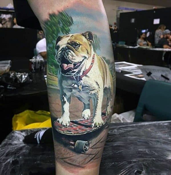 Cool Male Dog Portrait 3d Greatest Tattoo Designs