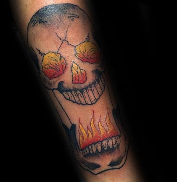 Cool Male Flaming Skull Tattoo Designs Forearm