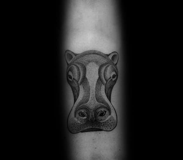Cool Male Forearm Dotwork Hippo Head Tattoo Designs