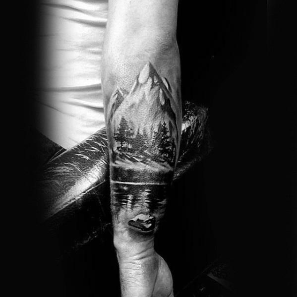 Cool Male Forearm Mountains With Lake Tattoo Designs