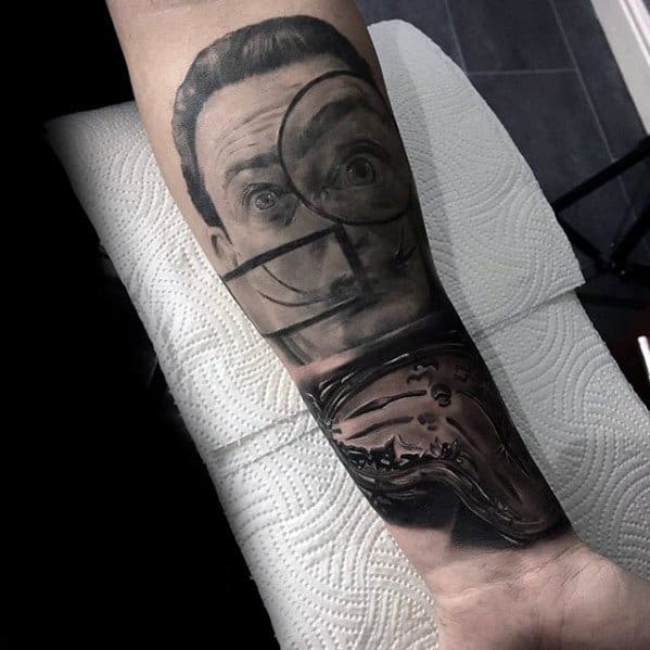 Cool Male Forearm Salvador Dali Tattoo Designs