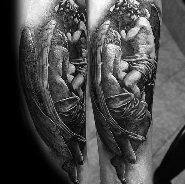 Cool Male Forearms Angel Statue Tattoo Designs