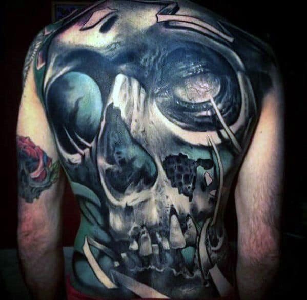 Cool Male Full Back Badass Skull Tattoo Designs