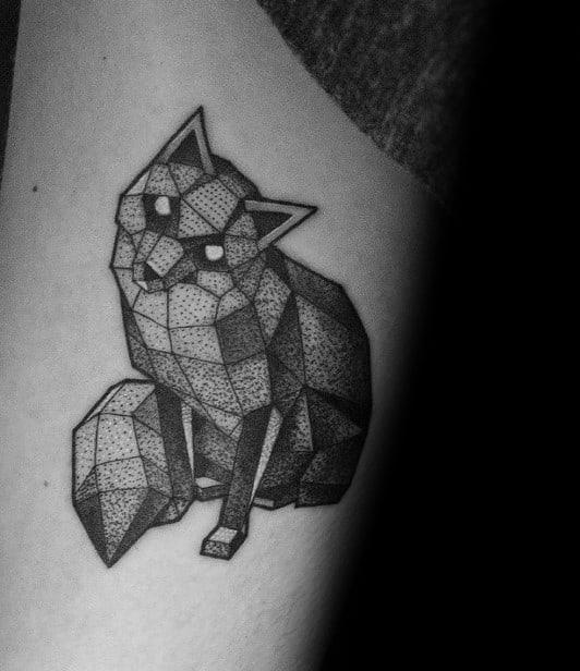 Cool Male Geometric Animal Fox Tattoo Designs