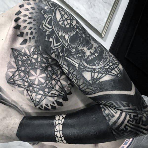 Cool Male Geometric Blackwork Skull Sleeve Tattoo Designs