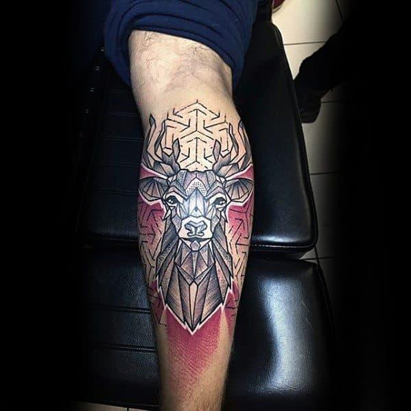 Cool Male Geometric Deer Back Of Leg Tattoo Designs