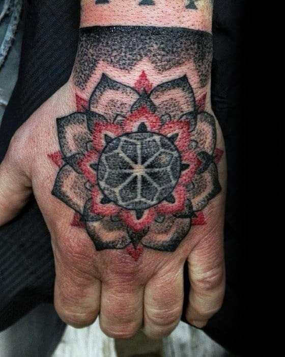Cool Male Geometric Red And Black Ink Hand Tattoo Designs