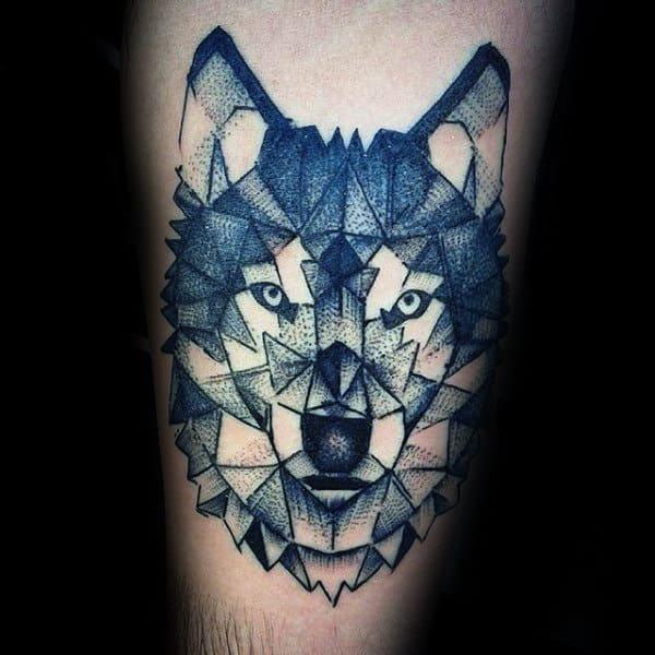 Cool Male Geometric Wolf Arm Tattoo Ideas