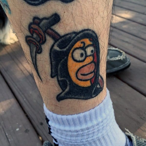 Cool Male Grim Reaper Homer Simpson Tattoo Designs On Lower Leg