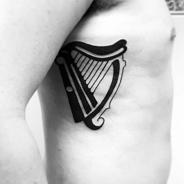 Cool Male Harp Tattoo Designs Rib Cage Side Black Ink