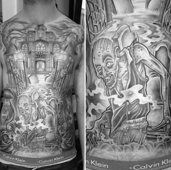 Cool Male Haunted House Tattoo Designs