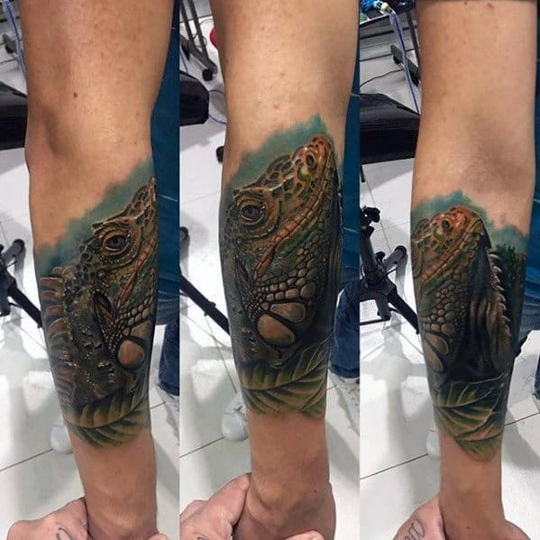 Cool Male Iguana Tattoo Designs