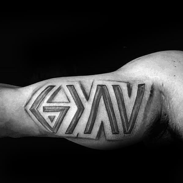 Cool Male Inner Arm Bicep God Is Greater Than The Highs And Lows Tattoo Designs