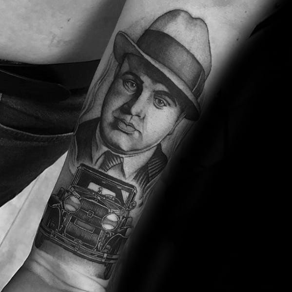 Cool Male Inner Forearm Heavily Shaded Gangster Al Capone Tattoo Designs