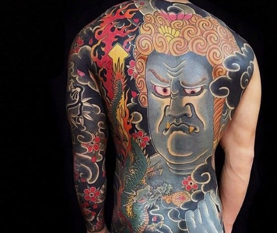 Cool Male Japanese Full Back Fudo Myoo Tattoo Designs