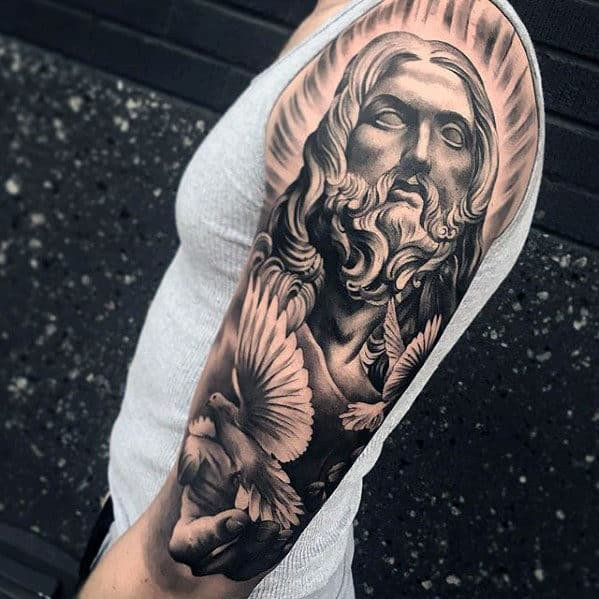 50 jesus sleeve tattoo designs for men religious ink ideas. Black Bedroom Furniture Sets. Home Design Ideas