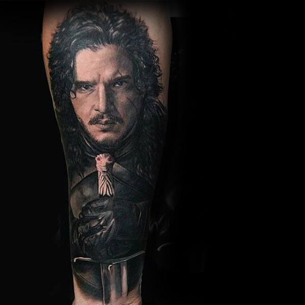 Cool Male Jon Snow Game Of Thrones Tattoo Designs