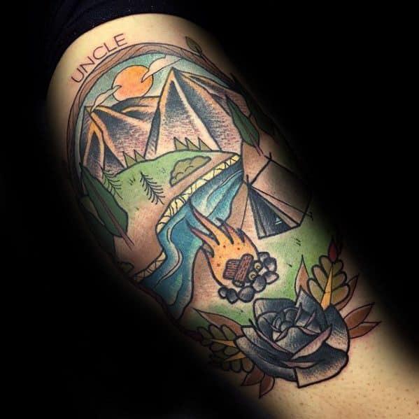 Cool Male Leg Retro Camping Tattoo Designs