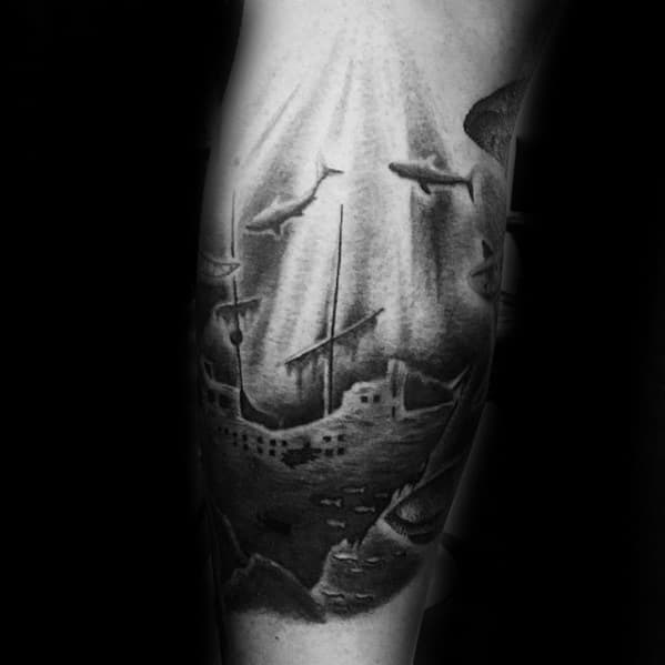 Cool Male Leg Shipwreck Tattoo Designs