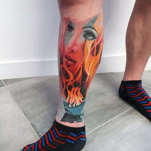 Cool Male Leg Surrealism Tattoo Designs