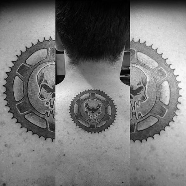 Cool Male Mad Max Gear Upper Back Tattoo Designs