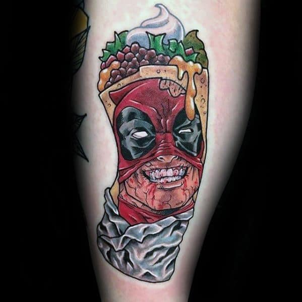 Cool Male Mask With Burrito Tattoo Designs On Leg