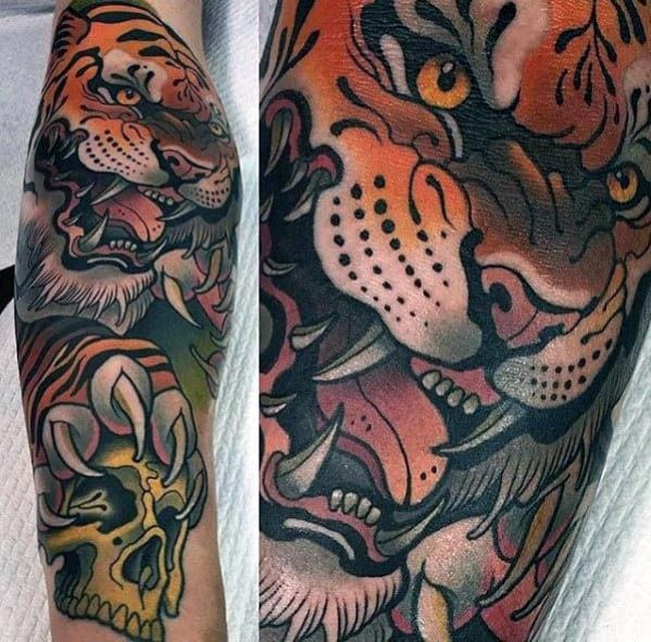Cool Male Neo Traditional Tiger Skull Epic Tattoo Designs