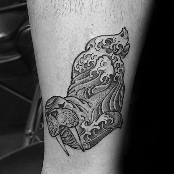 Cool Male Ocean Wave Walrus Tattoo Designs On Leg