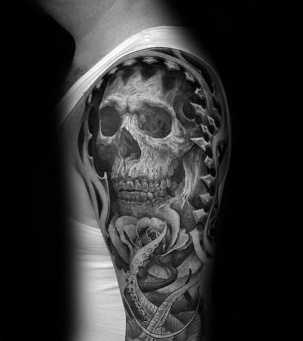 Cool Male Octopus Skull Tattoo Designs Half Sleeve