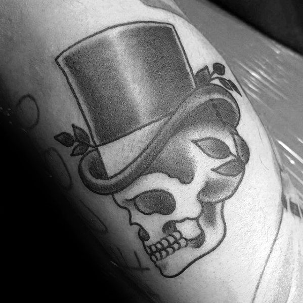 Cool Male Old School Traditional Arm Skull With Top Hat Tattoo Designs