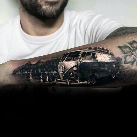 Cool Male Outer Forearm Volkswagen Wv Tattoo Designs
