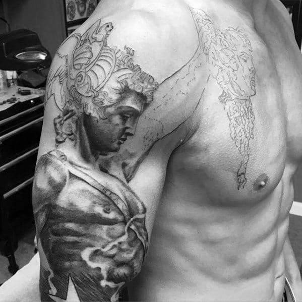 Cool Male Perseus Tattoo Designs On Arm