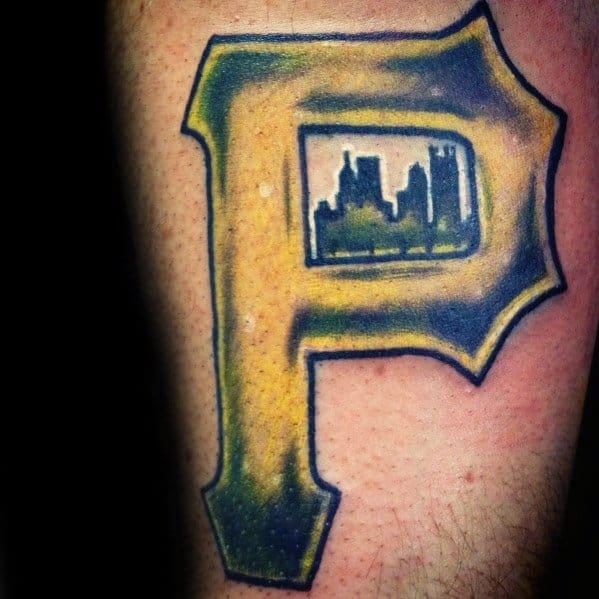 Cool Male Pittsburgh City Skyline Pirates Baseball Team Tattoo Designs