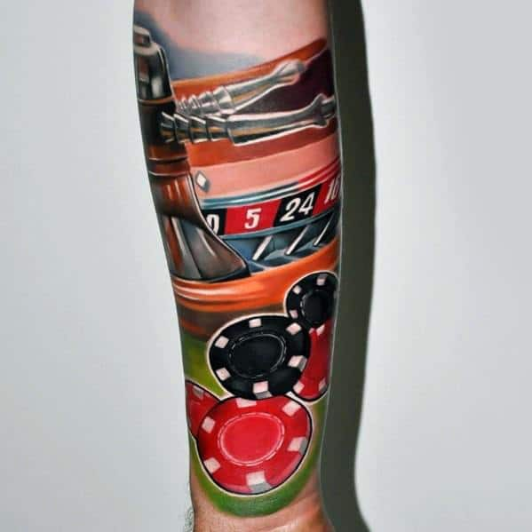 Cool Male Poker Chip Colorful Forearm Sleeve Tattoo Designs