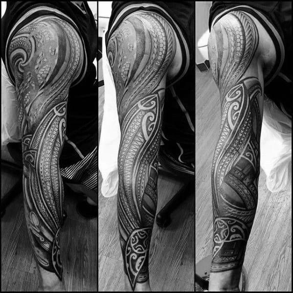 Cool Male Polynesian Shark Tattoo Designs